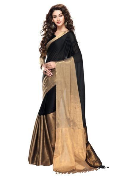 Black Silk Saree With Golden Border - Black and Gold Saree (With .