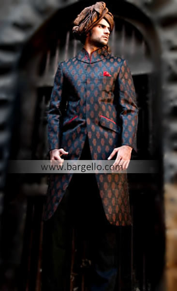 Designer Black Sherwani With Beautiful Embroidery, Buy Latest .