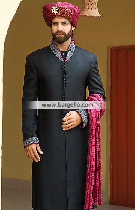 Abstemious Embroidered Jamawar Groom Sherwani Ypsilanti .