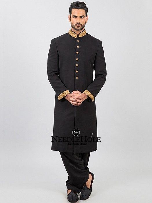Sherwani Black | Bespoke designer sherwani suit in jet black .
