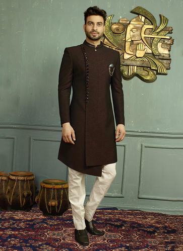 Indowestern Black Wedding Wear Jacquard Designer Sherwani, Rs 6745 .