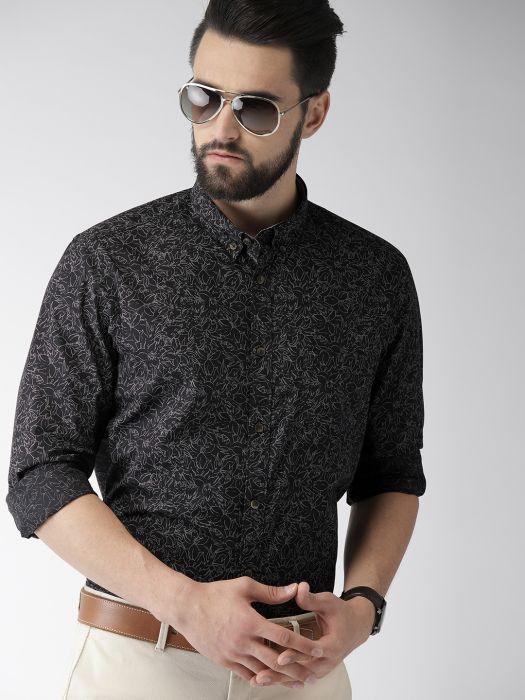 Men's Black Printed Slim Fit Shi