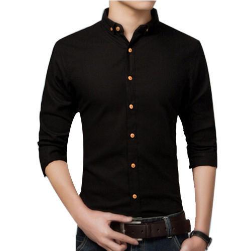 Plain Mens Black Shirt, Rs 400 /piece Bheru Garments | ID: 151489324