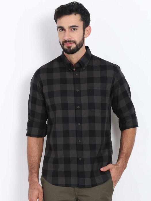 Men's Black Checked Slim Fit Shi