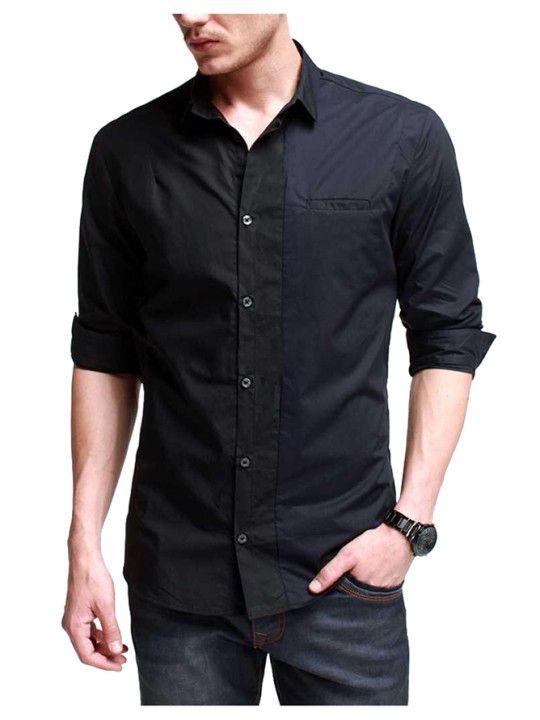 Two Tone Black and Dark Blue Shirt - Cotton | Cela