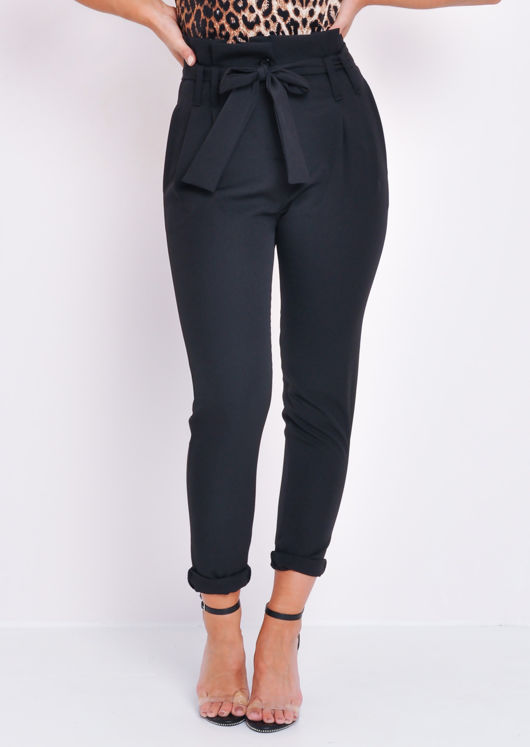 Paperbag Waist Belted Trousers Bla
