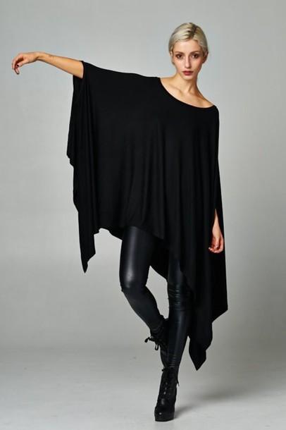blouse, black, top, tunic, tunic top, shark bite, asymmetrical .