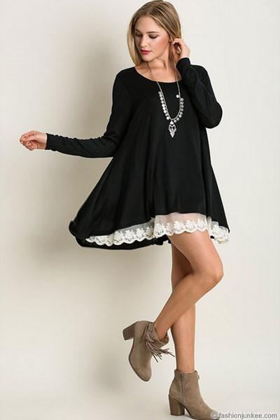 Long Sleeve Knit Lace Trim Hem Tunic Top-Bla