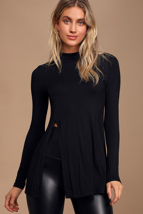 Lovely Black Top - Long Sleeve Top - Mock Neck T