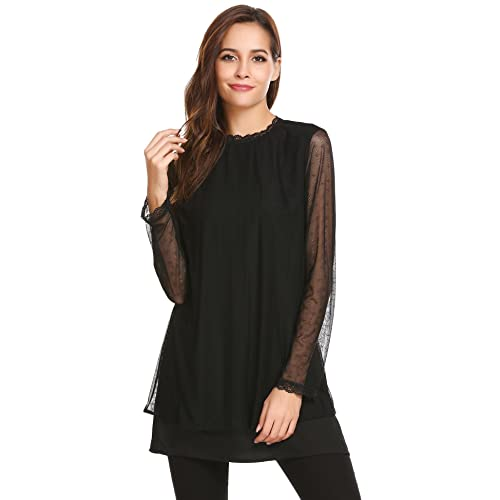 Women's Black Lace Tunic: Amazon.c