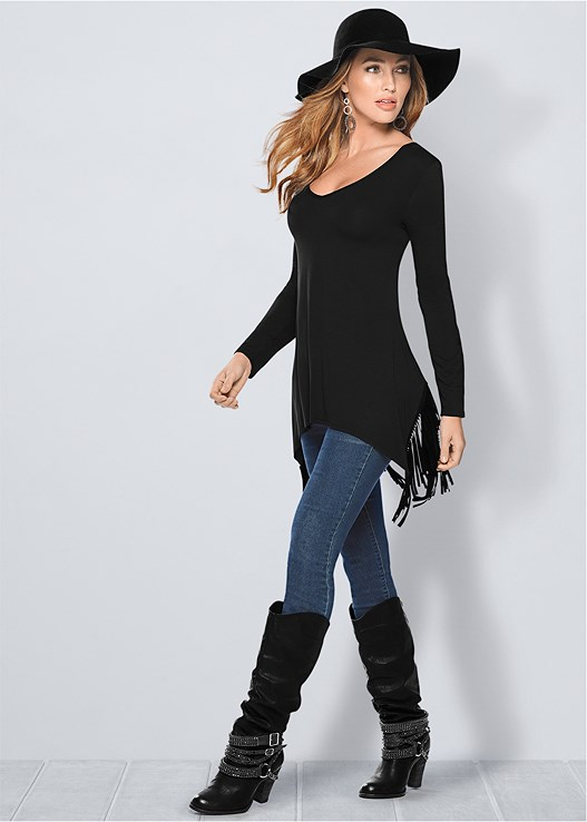 Fringe Detail Tunic Top in Black | VEN