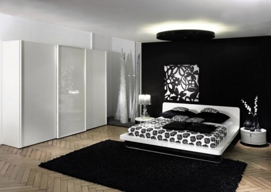 Black and White Wardrobe Designs for Contemporary Bedroom by .