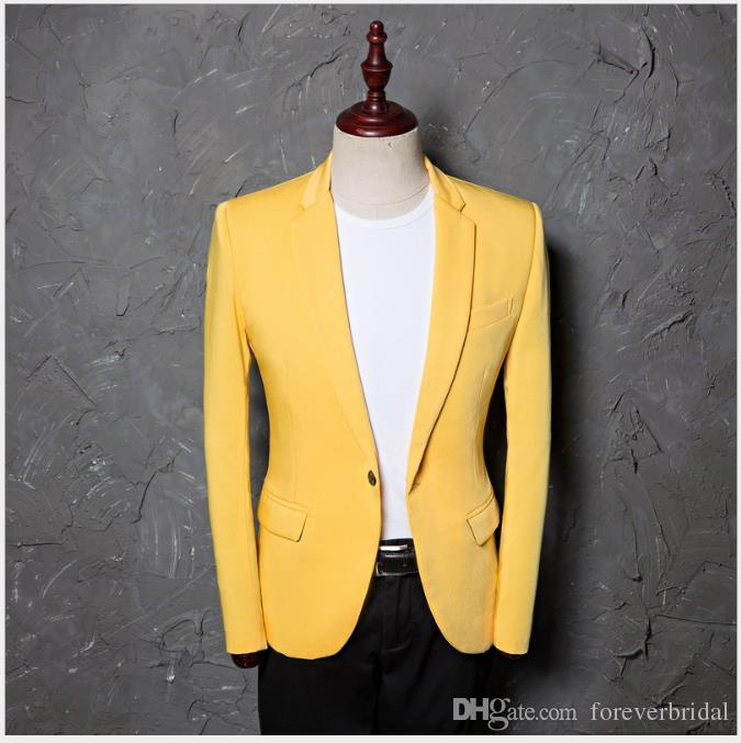 Yellow Fashion Suits Blazers For Men Casual Business Tuxedos .