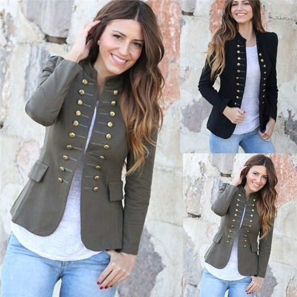 S-2XL Women Casual Vintage Coat Fashion Double Breasted Coat .