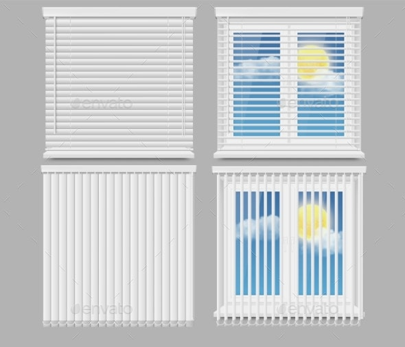 Blind Window Curtains Vector Realistic Mockup Set by siberianart .