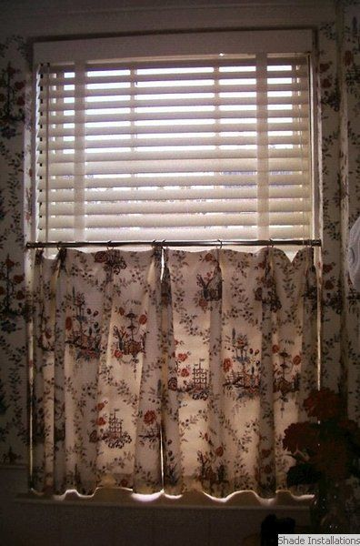 White wooden blind with cafe curtain | Wooden blinds, White wooden .