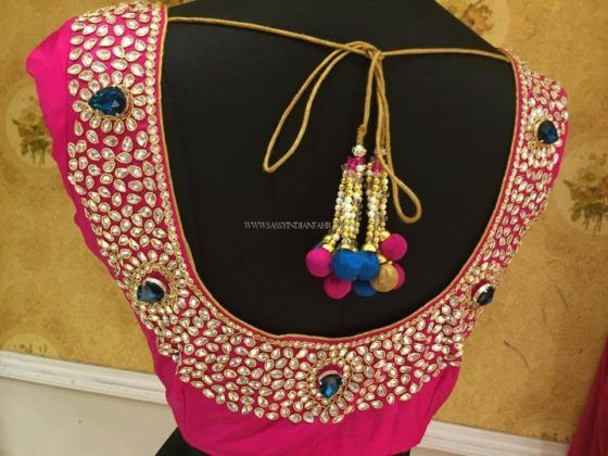 Blouse Back Neck Designs With   Stone Work