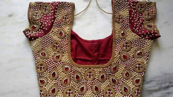 Blouse Back Neck Designs With Stone Wo