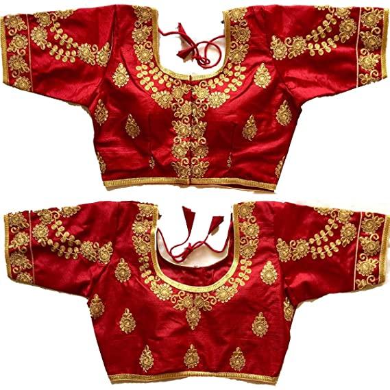 Buy SumairaTex Women's Readymade Blouse Gold Zari & Stone Work .