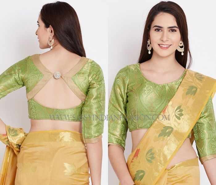 Blouse Back Neck Designs with Borders – 10 Creative Ideas .