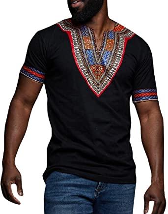 Amazon.com: Makkrom Mens Dashiki African Tribal Floral V Neck .