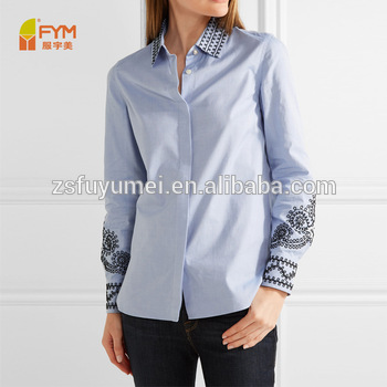 Latest Design For Women Solid Color Office Ladies Shirt For Casual .