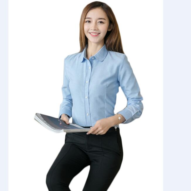Office Women Blouse Solid Oxford White Formal Long Sleeve Causal .