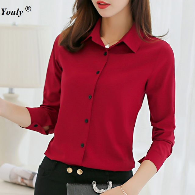Solid Chiffon Blouses Women Causal Office OL Long Sleeve Blouse .
