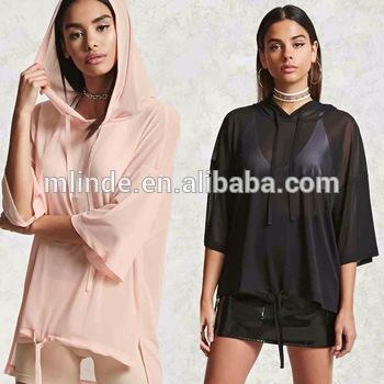 Shirts Designs Women Sheer High-low Hooded Top Short Sleeve .