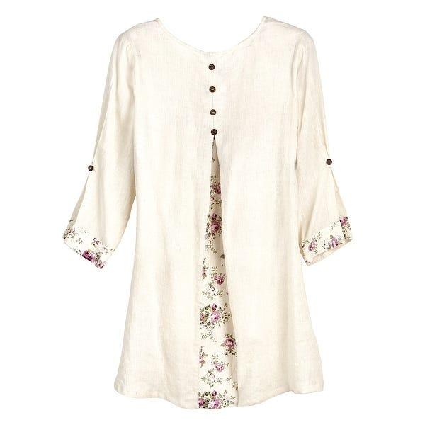 Shop Apt Designs Women's Roses Linen Tunic Top - Floral Print 3/4 .