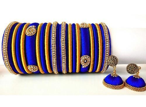 Perfect Blue Silk Thread Bangles at Rs 950/set | Silk Thread .