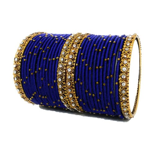 Blue and Golden Stone Chain Contemporary Silk Thread Bangle Set .