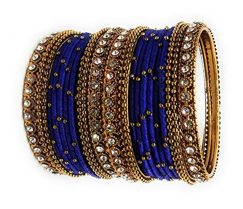 Buy Sai Handmade Blue Gold Colour Silk Thread Stone Work Zircon .