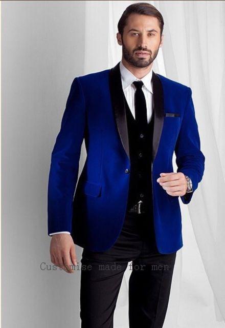 Men Elegant Wedding Groom DESIGNER Blue Smoking Jacket Party Wear .