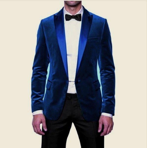 Men New Party Wear Custom Tailored Designer Royal Blue Velvet .