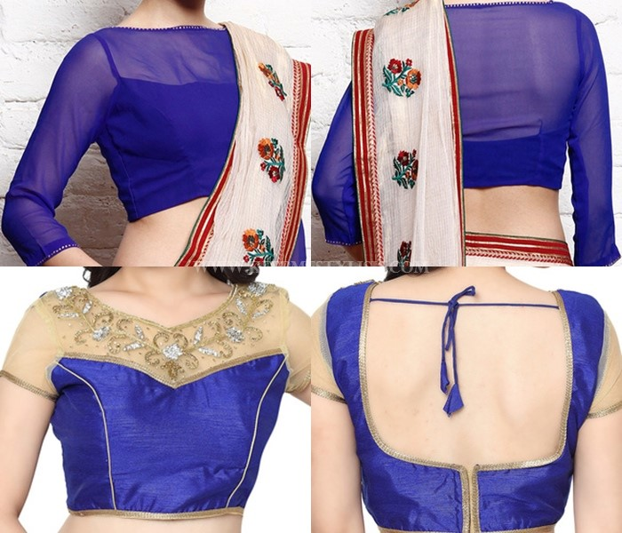 Blue-net-blouse-designs-for-sarees • Keep Me Styli