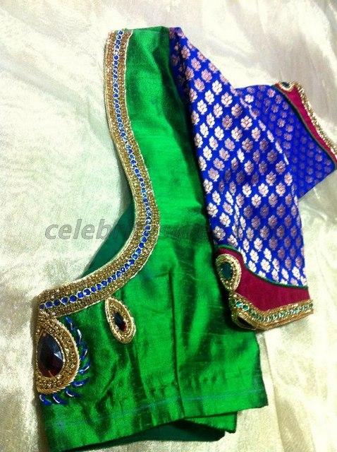 Stone Work Brocade Saree Blouse Designs - Saree Blouse Patter