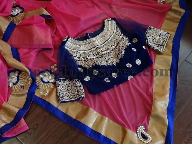 Velvet Blouse Designs in Blue - Saree Blouse Patter