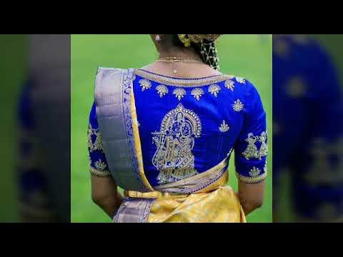 Blue color Maggam work blouse desings || Bridal maggam work blouse .