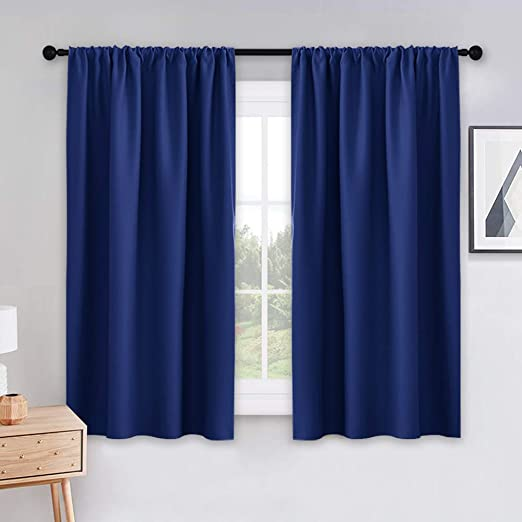 Amazon.com: PONY DANCE Bedroom Blue Curtains - 45 inch Length .
