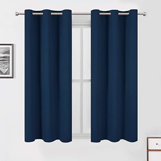 Amazon.com: LEMOMO Navy Blue Blackout Curtains 42 x 63 Inch Length .