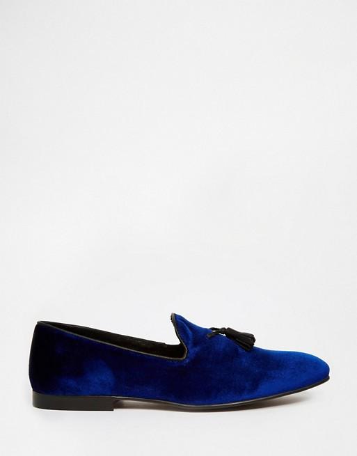 ASOS Tassel Loafers in Blue Velvet | AS