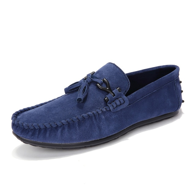 AGSan Men Blue Loafers Moccasins Suede Leather Driving Loafers .