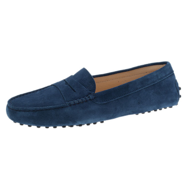 Tod's Blue Suede Penny Loafers Size 40 Tod's | T