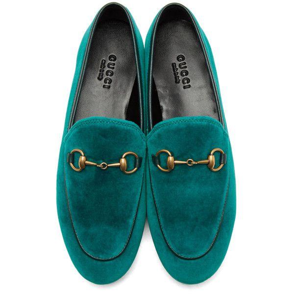 Gucci Blue Velvet Jordaan Loafers ($645) ❤ liked on Polyvore .