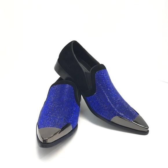 Bolano Shoes | Mens Black Royal Blue Loafers Slip Ons | Poshma