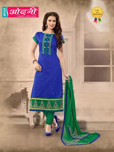 Ladies Designer Chanderi Blue Salwar Suit, Rs 1995 /piece Odhni .