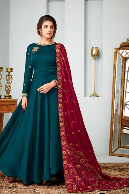 Blue Green color With Red Dupatta designer heavy georgtte satin .