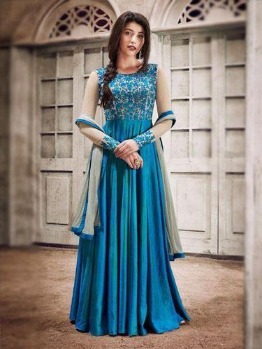 Silk Sky Blue Designer Fancy Anarkali Salwar Suit, Rs 1399 /piece .