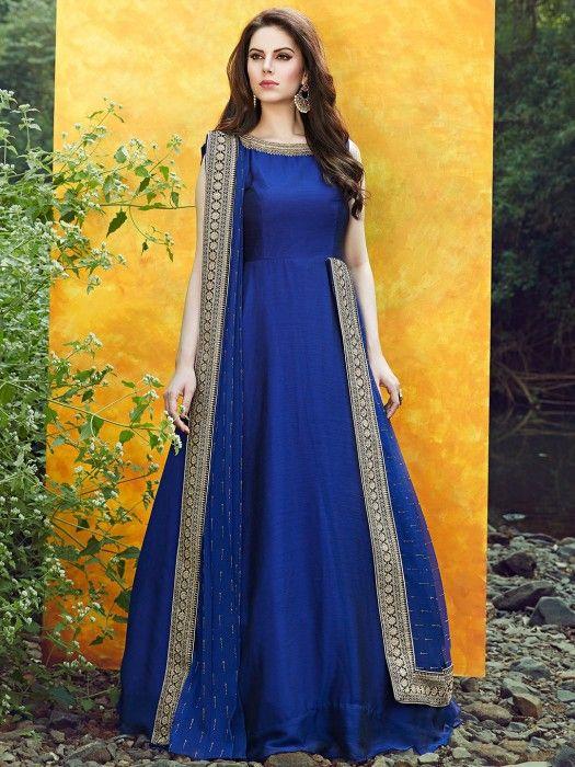 Satin Silk Blue Color Anarkali Suit, designer, anarkali, satin .